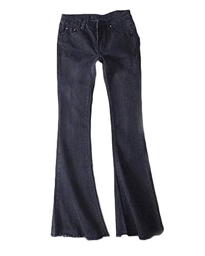 4a6f62ad7d Quge Donna Pantaloni Jeans Vita Alta Bootcut Denim Pantaloni Gamba ...