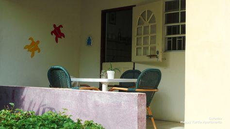 Terras voor het 2 slaapkamer appartement. Happy Turtle, Curacao