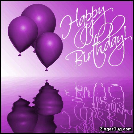 Happy Birthday Purple Balloons Ripples Glitter Graphic Greeting Comm