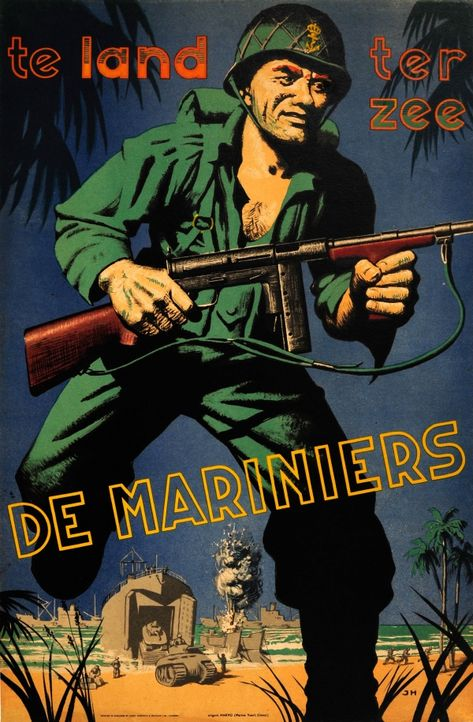 Marines Land Sea WWII UK UK / 1940s / War Posters / James Haworth / 74x48 Original vintage World War… / MAD on Collections - Browse and find over 10,000 categories of collectables from around the world - antiques, stamps, coins, memorabilia, art, bottles, jewellery, furniture, medals, toys and more at madoncollections.com. Free to view - Free to Register - Visit today. #Posters #War #MADonCollections #MADonC
