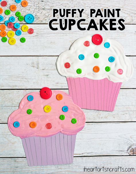 Paint Cupcake Craft For Kids Puffy Paint Cupcake Craft For Kids - The perfect craft to pair with the book If You Give A Cat A Cupcake!Puffy Paint Cupcake Craft For Kids - The perfect craft to pair with the book If You Give A Cat A Cupcake! Cupcake Crafts, Cupcake Art, Cupcake Cupcake, Vintage Cupcake, Cupcake Toppers, Daycare Crafts, Toddler Crafts, Food Crafts, Easy Crafts