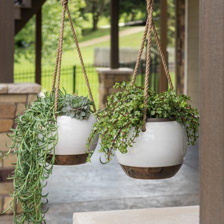 Belham Living Hayden Ceramic Hanging Planter Walmart Com Hanging Plants Indoor Hanging Plants Diy Hanging Planters