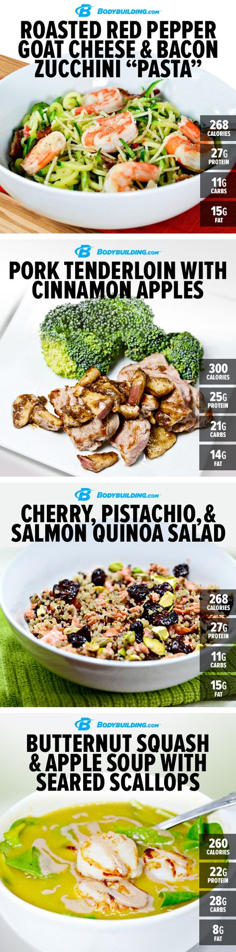 4 EASY HEALTHY WINTER #RECIPES! Cold weather often brings a serious craving for comfort food. Here are 4 savory recipes that will provide the taste of home without the extra calories! Bodybuilding.com