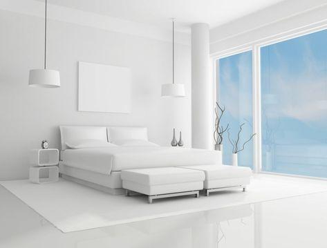 Chambre à coucher blanche avec des accents colorés | Chambre ...