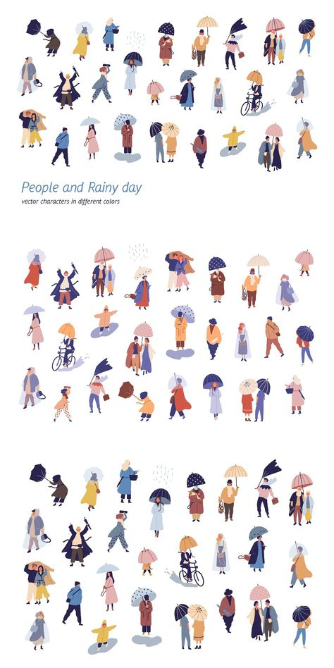 People walking on a rainy day