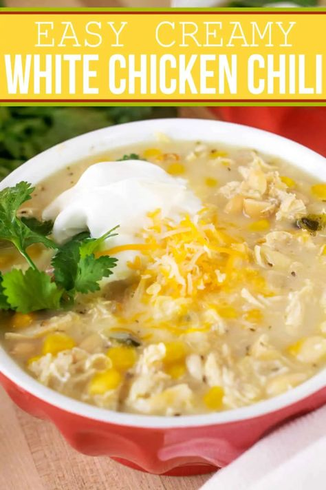 Need a fast chicken dinner recipe? This is our favorite white chicken chili recipe! It can be made in either a slow cooker or on the stove in less than 45 minutes. #chicken #chili #chickenrecipes #recipes #food #familyrecipe #weeknightdinner