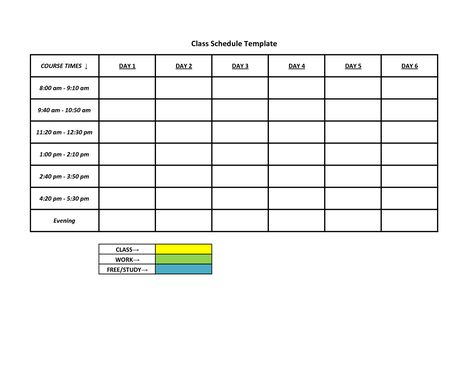 class schedule templates free