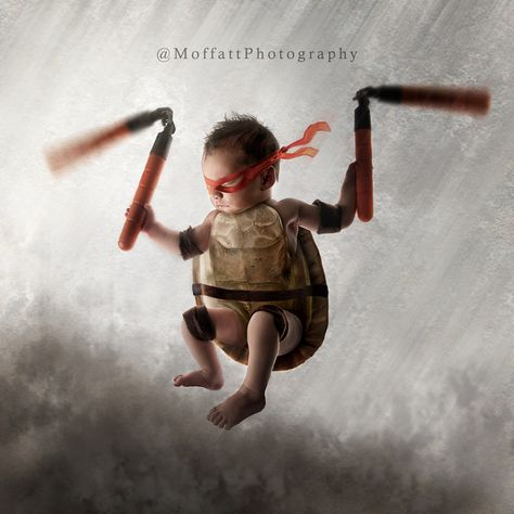 "From our ""Teenage Mutant Ninja Turtles"" shoot ~ Declan, 6 days new {I'd also like to thank Tia for the use of ""Tom"" the turtle in the making of this image}"