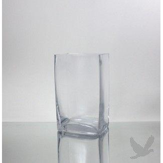 Clear Glass Block Vase