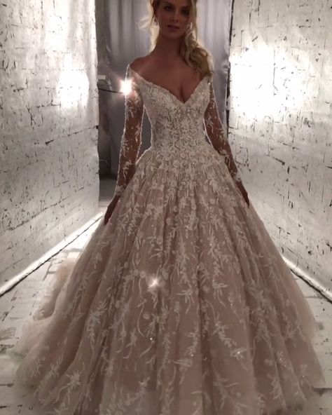 Stunning Embellished Off Shoulder A-Lane Princess Wedding Dress / Bridal Ball Gown with V-Neck Cut, Long Sleeves and a Train. Dress by Morilee