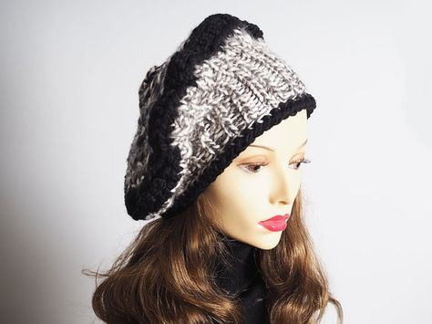 f78b1569a39 Black   white slouchy beanie Ready to Ship by TheMastHatter