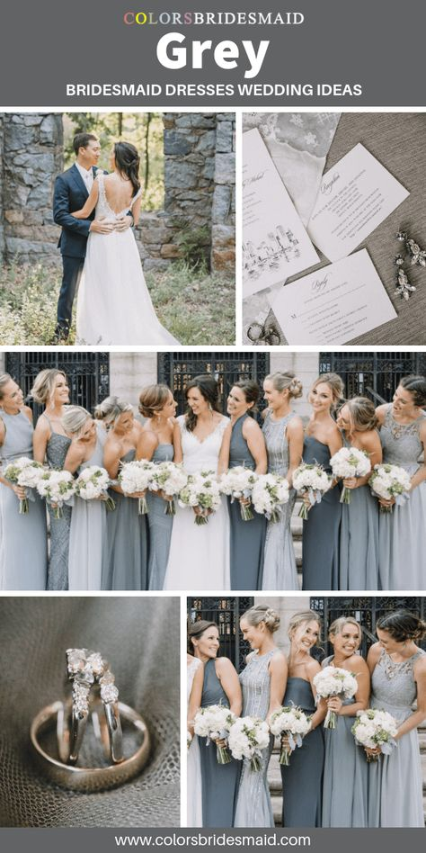 Grey bridesmaid dresses wedding ideas with white bridal gown, grey groom's suit and white wedding invitations in grey accent color.