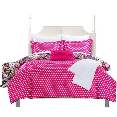 Princess Paisley Polka Dot Comforter Set Bed In A Bag Full Twin Xl