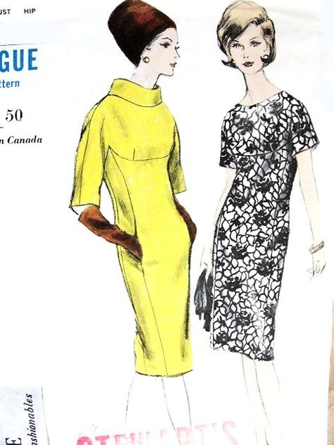5739239bb71 1960s ELEGANT Slim Dress Pattern VOGUE Young Fashionables 6074 Two Classy  Styles Bust 31 Vintage Sewing Pattern