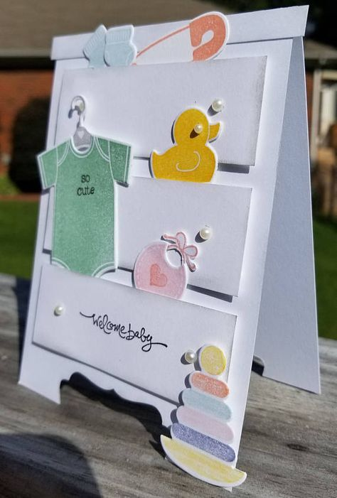 Welcome baby handmade card kit, stampin' up something for baby, dresser, chest -. Welcome baby han Baby Boy Cards Handmade, Baby Girl Cards, New Baby Cards, Diy Cards Baby, Welcome Card, Card Kit, Card Card, Kids Cards, Homemade Cards