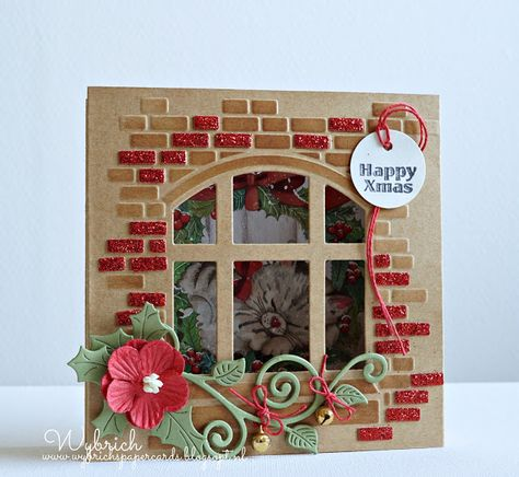 Handmade Christmas card by DT member Wybrich with Craftables Card with a View (CR1389), Christmas Bells (for the leaves (CR1343) and Creatables Swirl and Leaves (LR0410) from Marianne Design