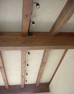 Rail Lighting On Open Beam Ceiling Rustic Kitchen Lighting