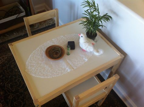 This [peace table/area] is where we will go when we are feeling upset. You may sit quietly and watch the grains of sand flow through the timer. When we are feeling upset with another person, we can invite them to sit with us here. When we both are sitting, the person who did the inviting will speak first, in a calm and quiet voice, and explain why they are feeling upset. When they are done, they pass [the peace object] to the other person, who may then speak in response. (Stacy Burnett)