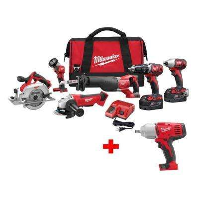 M18 18 Volt Lithium Ion Cordless 6 Tool Combo Kit W Free 1 2 In Impact Wrench