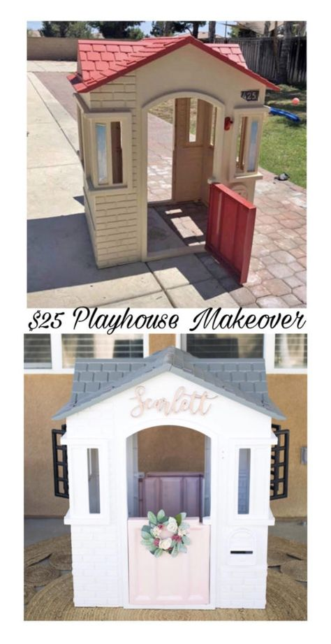 Consider this for an innovative approach! Home Renovation Diy Plastic Playhouse, Diy Playhouse, Playhouse Outdoor, Outdoor Play, Painted Playhouse, Girls Playhouse, Toddler Playhouse, Outdoor Toys, Outdoor Spaces