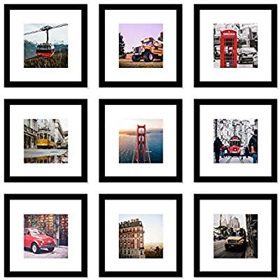 Wood Meets Color Picture Frames Set Wall Gallery Collage Frames Real Glass Window And Photo Mats 9 Picture Frame Wall Gallery Wall Kit Perfect Gallery Wall