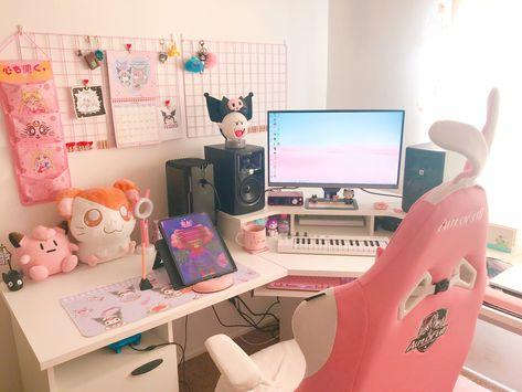 Gaming Desk Setup, Pc Setup, My Room, Girl Room, Pinterest Room Decor, Otaku Room, Desk Inspiration, Kawaii Room, Game Room Design