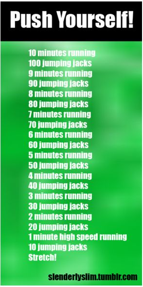 Accomplished in one try!!! 5.5 miles of running, 550 jumping jacks equals: about 115 calories per mile time 5.5= 632.5 + 1 calorie per jumping jacks= 550 jumping jacks, adds up to about 1,190 calories burned in one work out!!! Try to keep up....