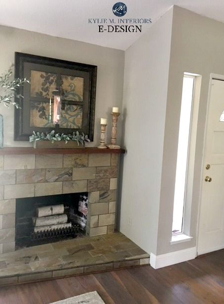 Sherwin Williams Collonade Gray With Slate Tile Fireplace Best