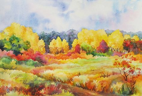 Autumn ORIGINAL Watercolor Painting Landscape Fall Aspen Sale on Etsy, $40.00