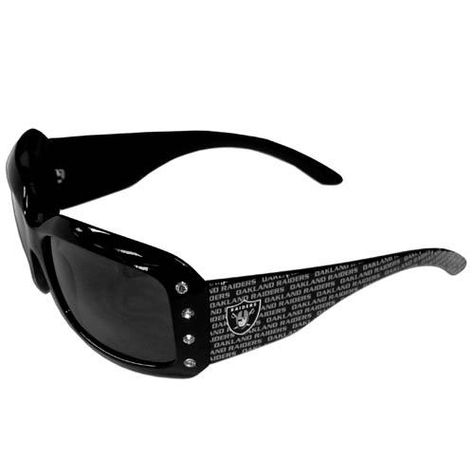 Our designer women's sunglasses have a repeating Oakland Raiders logo design on the team colored arms and rhinestone accents. 100% UVA/UVB protection.
