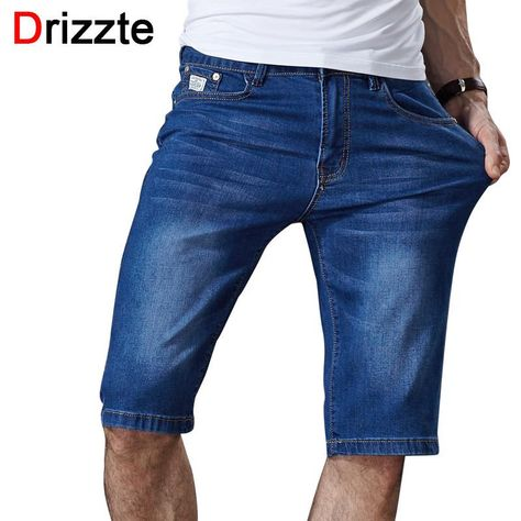 abdd2acaeec Drizzte Mens Summer Stretch Lightweight Blue Denim Jeans Short for Men Jean  Shorts Pants. Item Type  JeansGender  MenMaterial  Denim