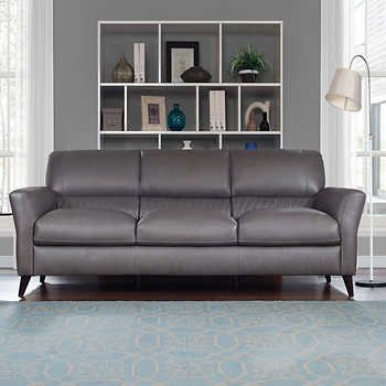 Costco.ca Natuzzi Hampton Grey Top Grain Leather Sofa | Grey ...