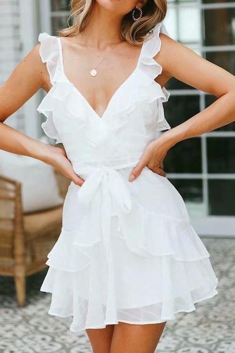 Day Date Ruffle Dress Elegant White Dress