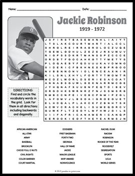 Jackie Robinson Word Search Puzzle For Kids And Adults