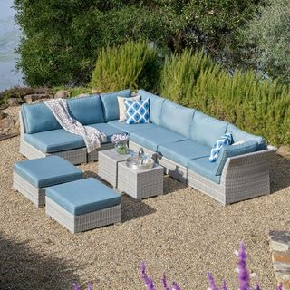 Corvus 10 Piece Grey Wicker Patio Sectional Conversation Sofa Set With Blue Cushions With Images Patio Furniture Sets Patio Furnishings