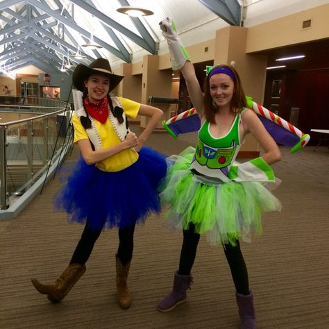 Woody and Buzz Lightyear costumes for girls. Woody and Buzz tutus. Costumes for two girls. Best friend costumes
