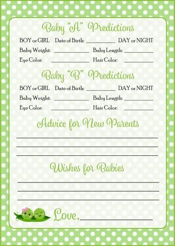 Prediction Advice Cards Printable Download Boy Girl Twins Peas In A Pod Baby Shower Activity B29003 Baby Shower Advice Cards Twins Baby Shower Baby Shower Activities