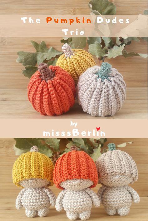 Crochet yourself whimsical Pumpkin Dudes! Crochet Pumpkin, Crochet Fall, Halloween Crochet, Cute Crochet, Hand Crochet, Crochet Toys Patterns, Crochet Patterns For Beginners, Amigurumi Patterns, Crochet Designs