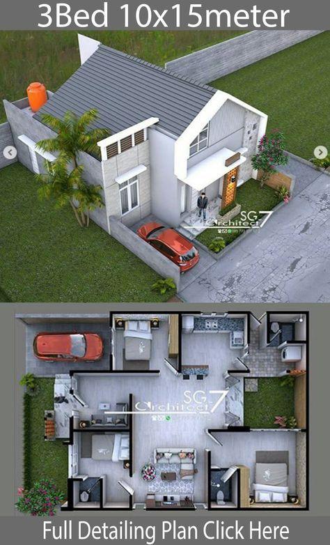 3 Bedrooms Home Design Plan 10x15m Home Design With Plansearch Arsitektur Rumah Denah Desain Rumah Desain Rumah