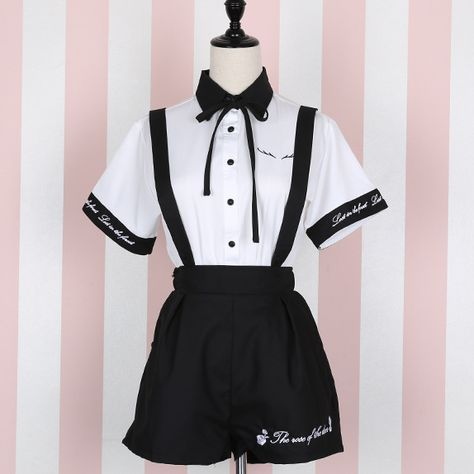 Cute students embroidered shirts + straps shorts/skirts two-piece