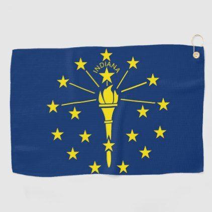 Golf Towel With Flag Of Indiana Usa Zazzle Com Indiana State Flag Golf Towels Flag