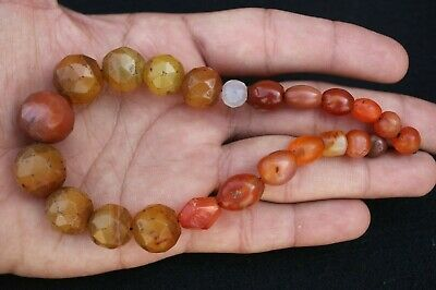 Lot 2 Ancient Natural GOAT EYE Agate Carved Bicone Beads Afghani #8012