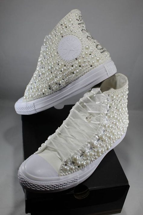 Wedding Converse Bridal Sneakers Bling Pearls Custom Converse