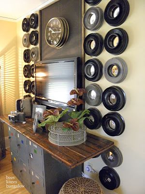 Vintage slide trays used as wall decoration...
