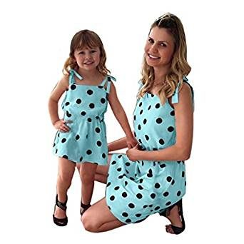 Kehen Family Matching Clothes Outfits Mommy and Me Sleeveless Floral Summer Dress with Lace Family Fitted Tops
