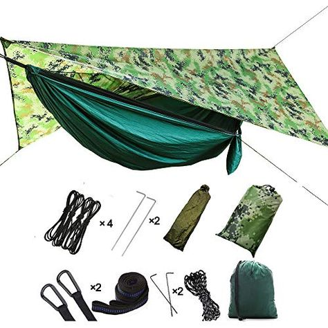 Hikant Camping Hammock Set Single Hammock Mosquito Net Rainfly Tarp Tent Lightweight Waterproof Sun Shade With Images Hammock Camping Design System Double Camping Hammock