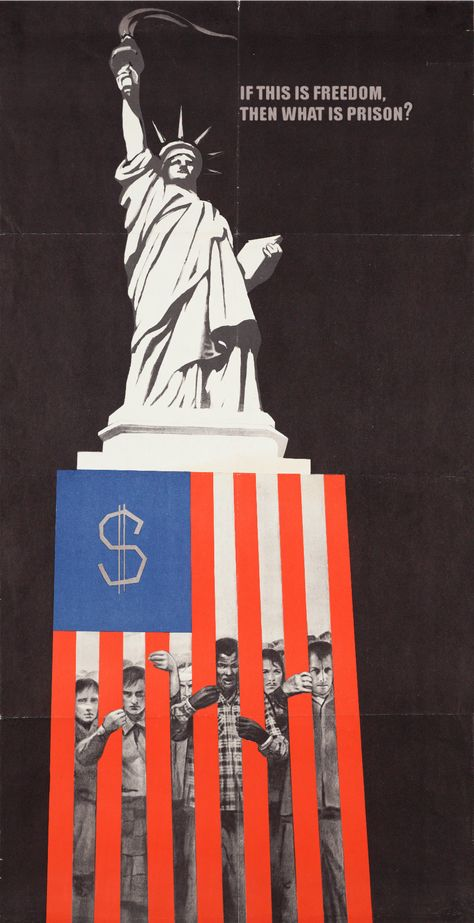 """Soviet anti-U. propaganda poster from """"If this is freedom then what do you call a prison? Cold War Propaganda, Propaganda Art, Communist Propaganda, Political Posters, Political Art, Soviet Art, Soviet Union, Oncle Sam, Lady Justice"""