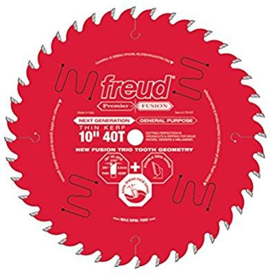 Freud 10 X 40t Thin Kerf Premier Fusion General Purpose Blade For Crosscuts 3 8 To 3 1 2 Rips 3 4 To 1 Circular Saw Blades Table Saw Blades Saw Blade
