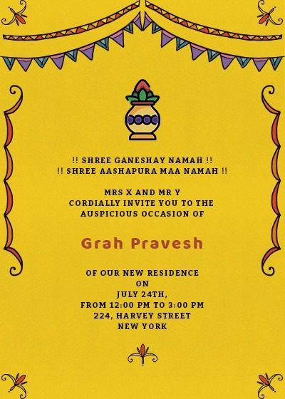 Grah Pravesh Colors Invitation Invites House Warming Invitations Housewarming Invitation Cards House Warming Ceremony