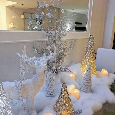 √24 Charming White Christmas Decor Ideas On A Budget #christmasdecorideas #whitechristmas #christmastable #christmasdecoration | andro.com